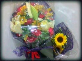 Gave these bouquets of L♥ve at Southern Luzon Hospital & Medical Center (bigger one from her quasi mom - Sis. Gaye Clark and the sunflowers from me)