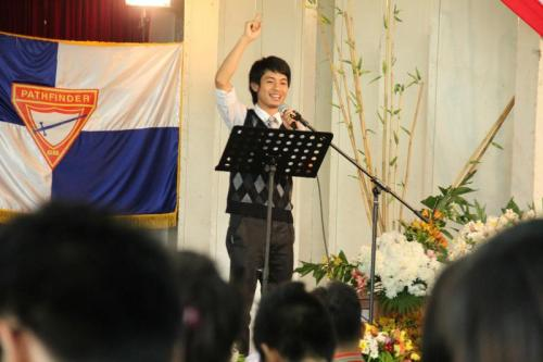 "Mr. ""At His Service"" & ""Power of One"" in 1 :) looks like preaching!"