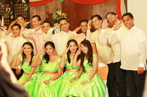 Wedding Salute :) Baraccuda Unit (MGT days, with me as the sole lady), Secondary sponsors with lady MGs, our former Youth Pastor, Bryan Tolentino, former College PF Director, SIr Aser-Neph Torres & Administrative Director of University PF Clubs, Sir Nimrod Salazar (principal sponsors).