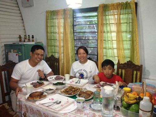 The patient, Ma'am Gladdens Zamora Azuprado with her loving family, Jun (Abraham), her hubby and son.