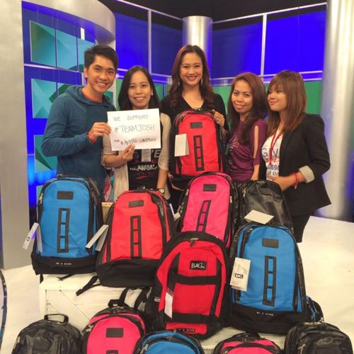 From a simple tweet which Ms. Christine read, she not only purchased backpacks, not only back-up the interview at DZMM TeleRadyo yesterday, but also invited Josh for an interview at her morning show early today. What a superb supporter!